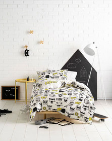 Linen House Double Calling Superheroes Duvet Cover Set Black&White