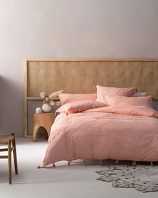 Linen House King Shibui Duvet Cover Set Blush