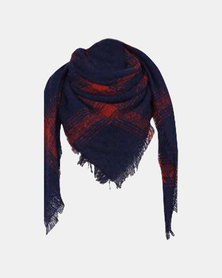 Kay & May Large Square Boucle Check Scarf - Navy & Red