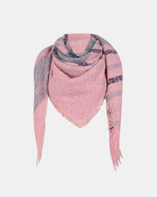 Kay & May Large Square Boucle Check Scarf - Pale Pink & Grey
