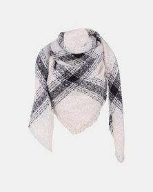 Kay & May Large Square Boucle Check Scarf - Cream & Grey