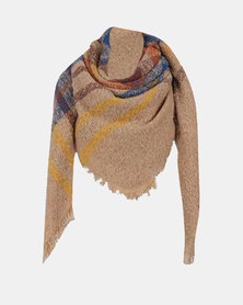 Kay & May Large Square Boucle Check Scarf - Camel /Red/Navy
