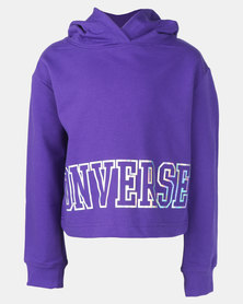 Converse Cropped Court Hoodie Purple