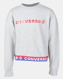 Converse Wordmark Cropped PO DK Crew Grey Heather