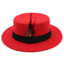 Big Brothers and Sisters Wholesalers Derby Boaters Fedora Panama Hat Red