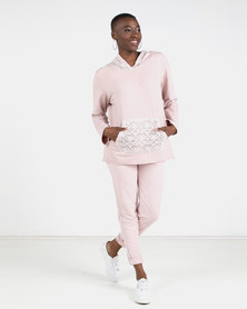 UB Creative Lace Tracksuit set Pink
