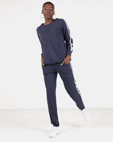 UB Creative Stripe Tracksuit Set Navy Blue