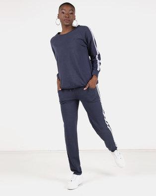 UB Creative Stripe Tracksuit Set Navy Blue