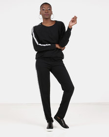 UB Creative Stripe Tracksuit Set Black