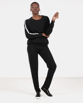 UB Creative Stripe Tracksuit Set Black