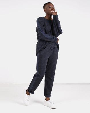 UB Creative Tweed Tracksuit Set Navy Blue
