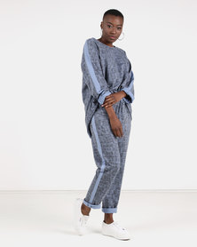 UB Creative Tweed Tracksuit Set Blue