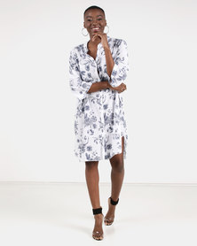 UB Creative Cotton Floral Print Dress White