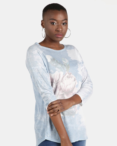 UB Creative Jersey Knit Flower and Feather Top Blue