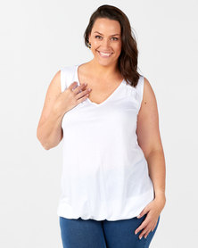 New Look Plus V-Neck Bubble Hem Vest White