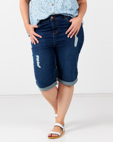 New Look Plus Ripped Knee Length Denim Shorts Blue