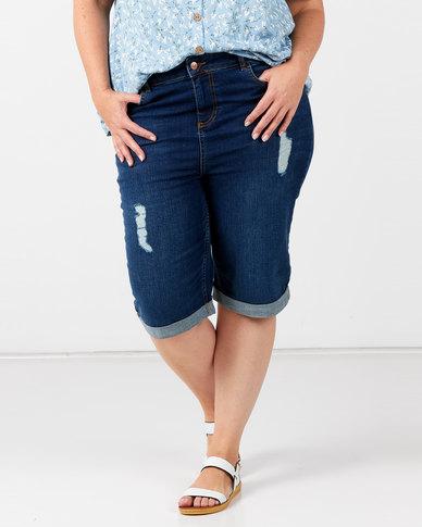 New Look Plus Ripped Knee Length Denim Shorts Blue