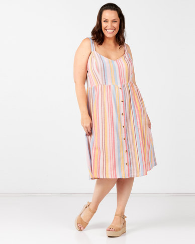 New Look Plus Stripe Strappy Midi Dress Pastel Pink