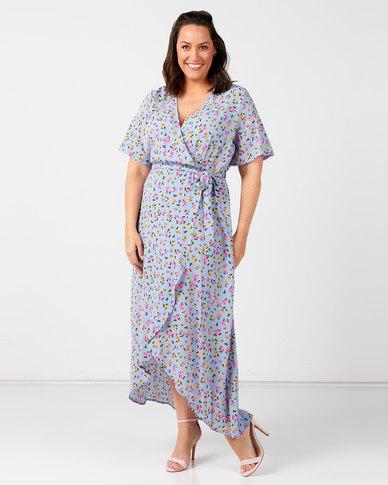 New Look Plus Floral Wrap Front Dress Blue
