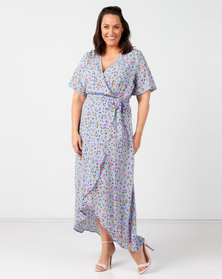 New Look Plus Floral Wrap Front Dress Blue