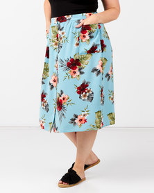 New Look Plus Floral Button Up Midi Skirt Blue