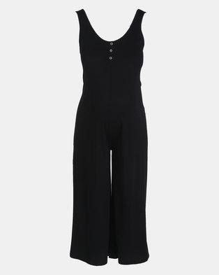 New Look Maternity Black Button Front Crop Jumpsuit