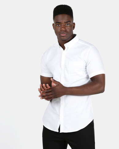 New Look Mens Oxford Short Sleeve Shirt White