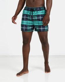 New Look Mens Swimming Shorts Check Green Pattern