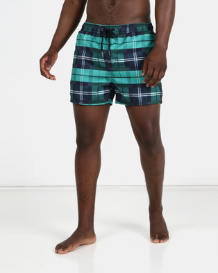 New Look Mens Swimming Shorts Check Green Pattern