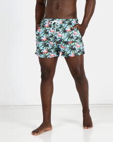 New Look Mens Flamingo Swimming Shorts Turquoise