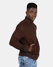 New Look Mens Harrington Jacket Dark Brown