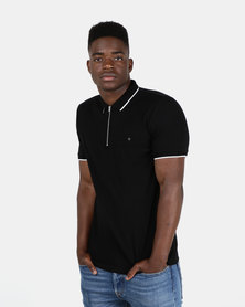 New Look Mens Basic Paul Tipped Zip Polo Black