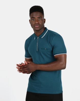 New Look Mens Basic Paul Tipped Zip Polo Shirt Teal