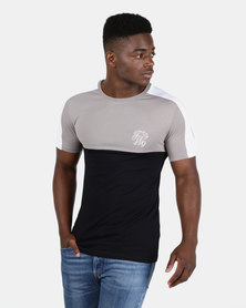 New Look Mens Embroidered Muscle Fit T-Shirt Light Grey