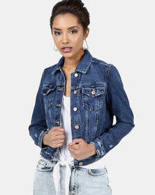 New Look Wash Denim Jacket Blue