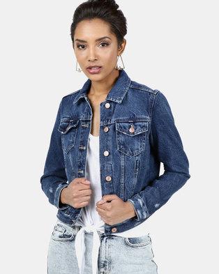 New Look Wash Denim Jacket Blue