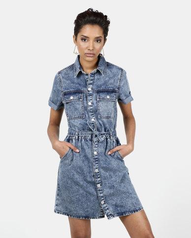 New Look Acid Wash Utility Shirt Dress Pale Blue