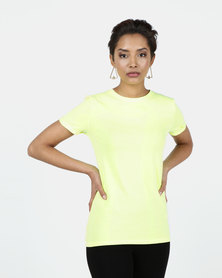 New Look Cotton Roll Sleeve T-Shirt Yellow Organic