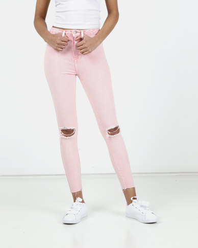New Look Acid Wash High Waist Super Skinny Jeans Pink