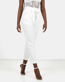 New Look High Waist Tapered Trousers White