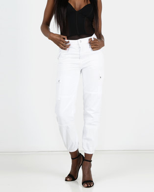 New Look White Cuffed Utility Jeans