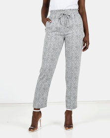 New Look Snake Print Drawstring Joggers Light Grey
