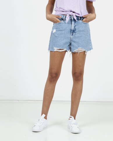 New Look Ripped Denim Shorts Pale Blue