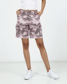 New Look Camo Print Utility Denim Shorts Pink