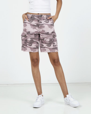 New Look Camo Print Utility Denim Shorts Pink