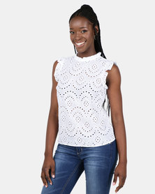 New Look Cutwork Frill Trim Blouse White