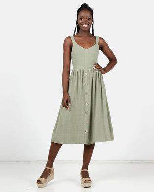 New Look Linen Look Button Front Midi Dress Khaki