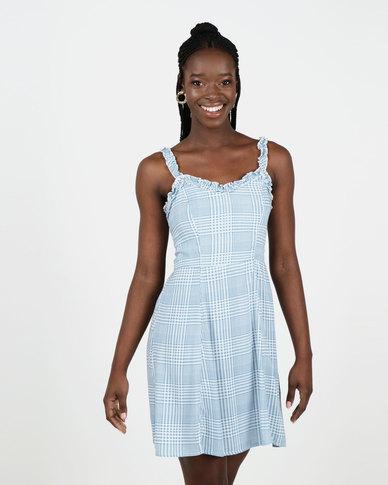 New Look Check Ruffle Trim Sundress Blue