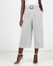 New Look Stripe Linen Blend Trousers Cream
