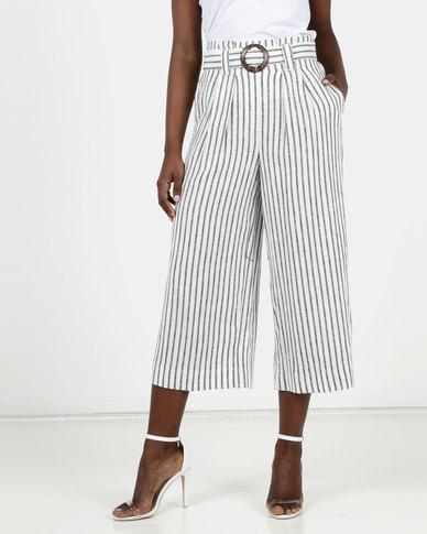 New Look Stripe Linen Blend Trousers Cream